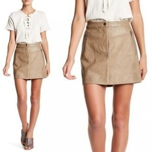 J.O.A. | Faux Leather Mini Skirt Khaki size Large